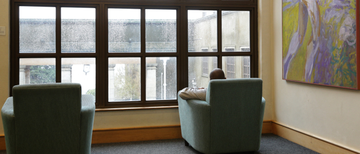 corner couch in the undergraduate space of Chancellor Oppenheimer Library