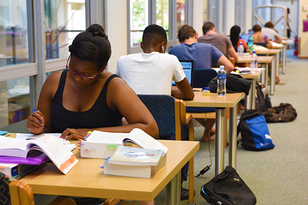 row of students studying at desks in Immelman, Chancellor Oppenheimer Library